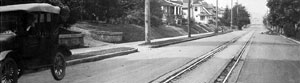 Streetcar rails along SE Clinton, taken sometime during the 1920s.